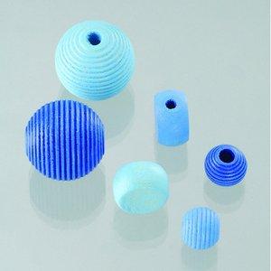 Träpärlor - blåmix 25 st. färg-form mix