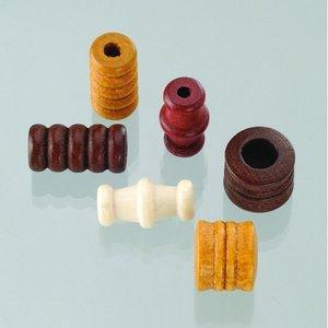 Träpärlor - brunmix 28 st. färg-form mix