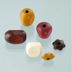 Träpärlor - brunmix 30 st. färg-form mix