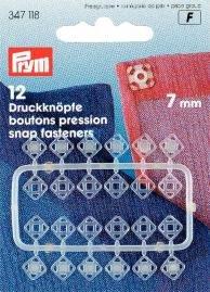 Tryckknappar (fastsys) plast genomskinliga eckig 7mm 12 st