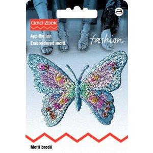 Tygmärke Fjäril exklusiv pastell blå med pärlor
