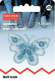 Tygmärke Fjäril liten ljusblå organza