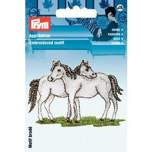 Tygmärke Hästar vit
