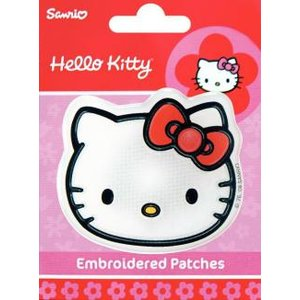 Tygmärke Hello Kitty ansikte självhäftande