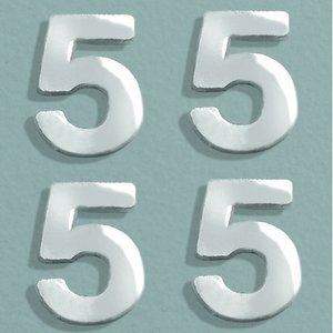 Vaxdekoration nummer 8 mm - silver briljant 4 st. 5