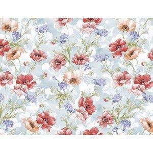 Vaxduk Blommor - Röd/blå