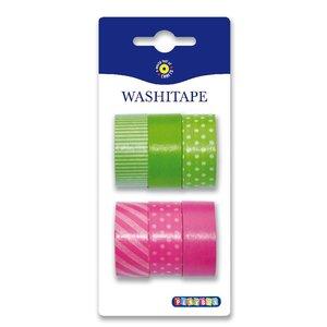 Washitape 6-pack grön rosa