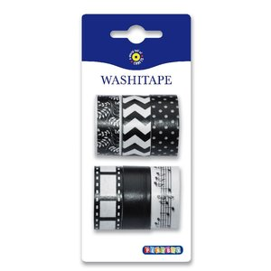 Washitape 6-pack svart