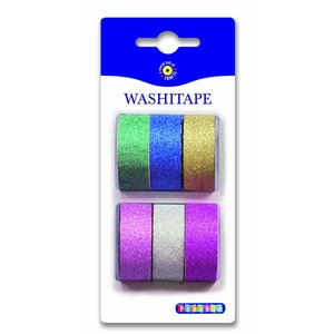 Washitape Plain Glitter 6-pack