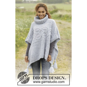 Alanna by DROPS Design - Poncho Stick-mönster strl. S/M - XXXL