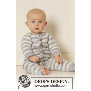 Baby Blues by DROPS Design - Baby Heldräkt Virk-mönster strl. 0/1 mdr