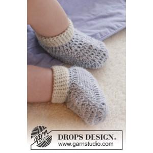 Baby Steps by DROPS Design - Baby Tofflor Virk-mönster strl. 0/1 mdr -