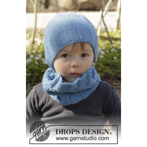 Bluebeard by DROPS Design - Mössa og Halsvärmare Stick-opskrift strl.