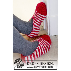 Candy Steps by DROPS Design - Tofflor Stick-opskrift strl. 29/31 - 44/