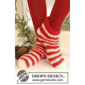 Christmas Slippers by DROPS Design - Filtade Tofflor Stick-opskrift st