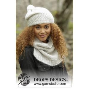 Cream Puff by DROPS Design - Mössa och Halsvärmare Stick-opskrift strl