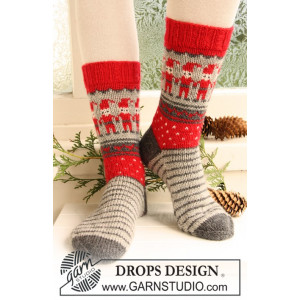 Dancing Elves by DROPS Design - Sockor Stick-opskrift strl. 32/34 - 41