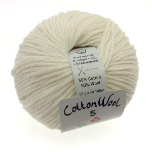 Gepard Garn CottonWool 5 Unicolor 101 Råvit