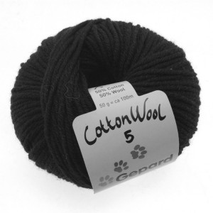 Gepard Garn CottonWool 5 Unicolor 599 Svart