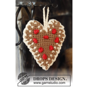 Gingerbread Heart by DROPS Design - Julhjärtan Virk-mönster 13x11 cm -