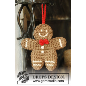 Gingy by DROPS Design - Pepparkaksgubbe Julpynt Virk-mönster 15x14 cm
