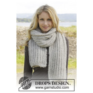 Grey Mist by DROPS Design - Halsduk Stick-opskrift 175x35 cm