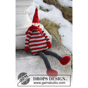Julius by DROPS Design - Tomte Julpynt Stickbeskrivning 36 cm