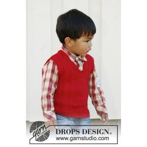 Justus by DROPS Design - Väst Stick-opskrift str. 3/4 -11/12 år