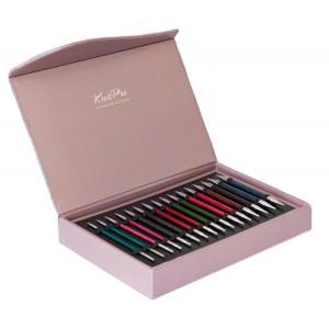 KnitPro Ändstickorset Trä Royalé - Set med utbytbara kablar 8 storleka