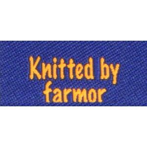 Label dubbelsidig Knitted by Farmor Marinblå