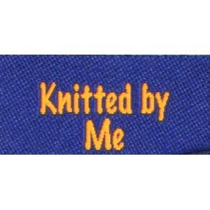 Label dubbelsidig Knitted by Me Marinblå