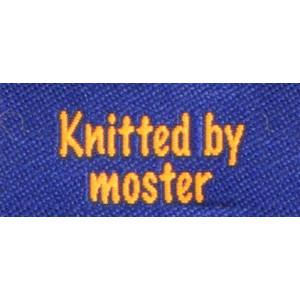 Label dubbelsidig Knitted by Moster Marinblå