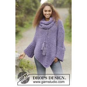 Lavender Grove by DROPS Design - Poncho Stick-mönster strl S/M - XXXL
