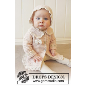 Little Lady Rose by DROPS Design - Baby Jacka Virk-mönster strl. 0/1 m