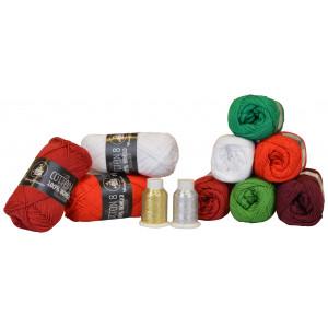 Mayflower Cotton 8/4 Garnpaket Jul 6 färger + 2 Glitter - 11 st.