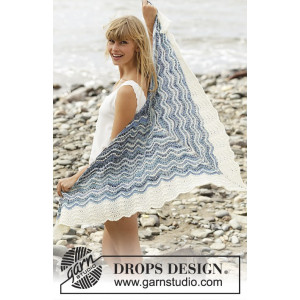 Mer Bleue by DROPS Design - Sjal Stick-mönster 166x75 cm