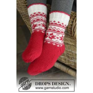 Merry & Warm by DROPS Design - Sockor  Stick-opskrift str. 32/34 - 41/