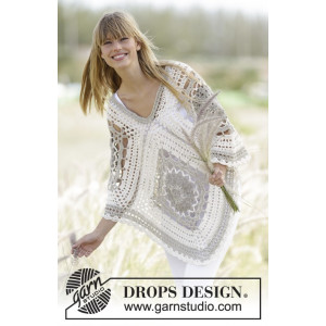 Midsummer Joy by DROPS Design - Poncho Virk-mönster One Size