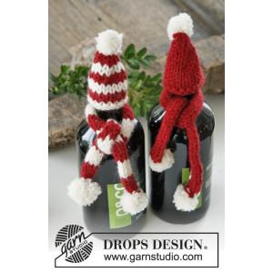 North Pole Pals by DROPS Design - Julpynt Mössa og Halsduk till flaska