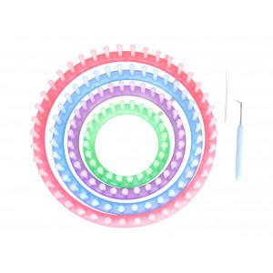 Påtringsset / Knitting ring set - 4 storlekar inkl. nål och krok