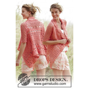 Peach Dream by DROPS Design - Jacka Virk-opskrift strl. S - XXXL