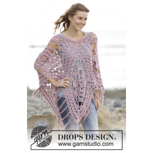 Rhapsody in Rose by DROPS Design - Poncho i mormorsrutor Virk-mönster
