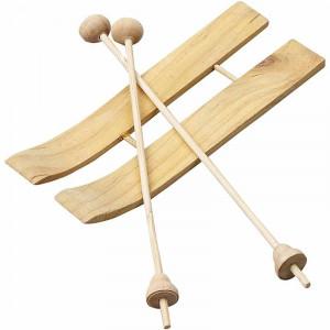 Skidor med stavar Trä 3 par 4x11cm