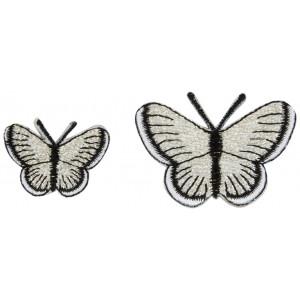 Strykmärke Fjärilar Silver Ass. storlekar - 2 st.