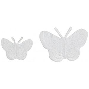 Strykmärke Fjärilar Vit Ass. storlekar - 2 st.