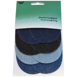 Strykmärke / Reparationslapp Jeans Mini Oval Ass. Blå 7x9