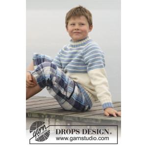 Water strlipes by DROPS Design - Tröja Stick-opskrift strl. 3/4 - 13/1